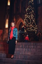 black shoes - light blue blazer - red scarf - black skirt