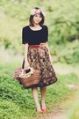 Black-shirt-dark-brown-floral-print-skirt