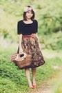 Black-shirt-dark-brown-floral-print-skirt