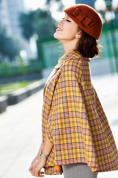 mustard cape - tawny hat - heather gray leggings
