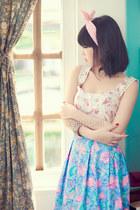 pink floral print top - aquamarine floral print skirt