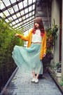 White-shirt-gold-cardigan-light-blue-skirt
