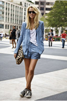 sky blue blazer - sky blue suit - gray sneakers