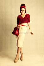 ruby red crop top top - ruby red bag - tan heels - eggshell skirt