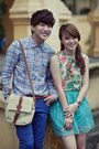 Light-blue-checkered-shirt-camel-floral-print-top-blue-pants