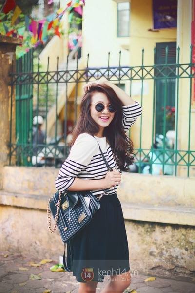 ivory shirt - black skirt