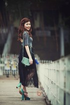 black skirt - turquoise blue shoes - charcoal gray shirt - aquamarine bag