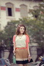 White-shirt-aquamarine-bag-tan-skirt-salmon-cardigan