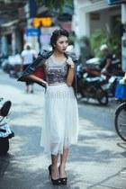 black jacket - white skirt - top - black heels