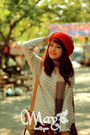 Red-beanie-hat-off-white-sweater-scarf-bag-brick-red-polka-dots-skirt