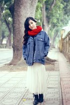 black boots - violet jeans - ruby red scarf - white skirt