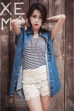 sky blue coat - white shorts - black top