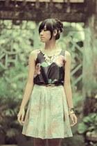 white pastel skirt - black top