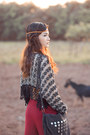 Ruby-red-bohemian-pants-dark-gray-scarf-black-boho-bag