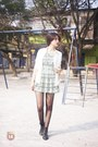Black-boots-heather-gray-dress-white-cardigan