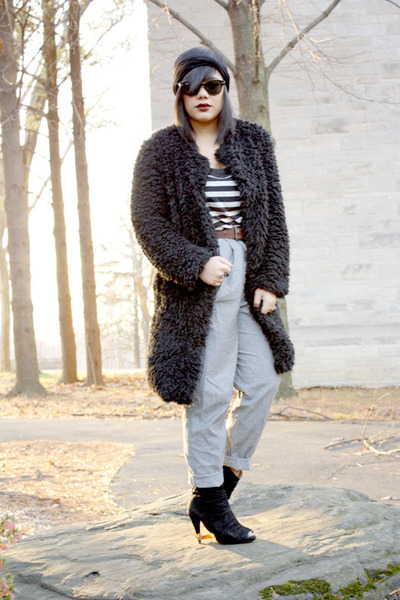 heather gray H&M pants - brown thrifted vintage belt - black nastygal jacket - b
