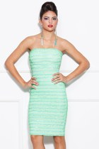aquamarine elastic dress Couture dress