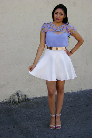 caged top Hot Miami Styles blouse - gold belt go jane belt