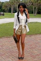 gold sequins TJ Maxx shorts - ivory tuxedo Charlotte Rusee blazer