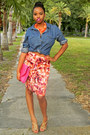 Blue-chambray-cotton-on-shirt-hot-pink-ruffles-f21-skirt