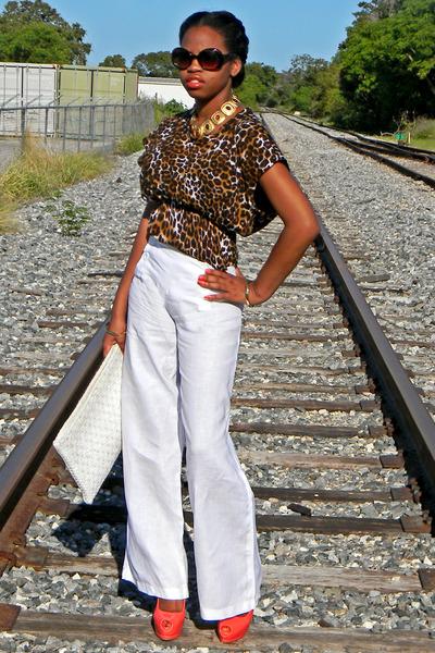white linen Forever 21 pants