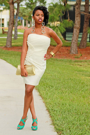 ivory ruching Forever 21 dress - aquamarine strappy Bakers heels