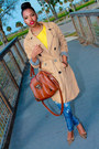 Dark-khaki-khaki-target-coat-blue-denim-bebe-jeans-yellow-thrifted-top