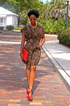 dark brown leopard print dress - red strappy heels