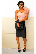 light pink Bebe top - black Bebe skirt
