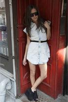 blue shopnastygal dress - black Topshop shoes - black - white