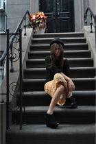 beige Voyage skirt - black armani sweater