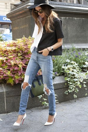 black-white SHOPgrlcom shirt - blue Levis jeans