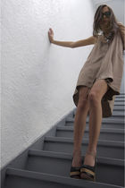 beige imitation of christ dress - black Harajuku Lovers shoes - gray NY&CO neckl