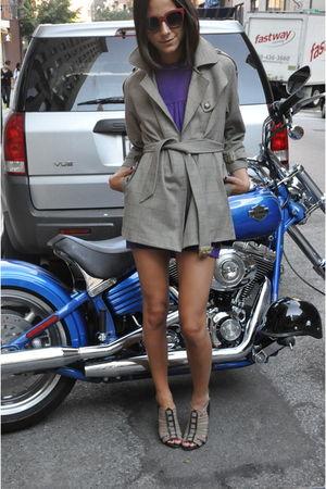 beige DoucetteDuvall coat - purple Prada dress - beige Sergio Rossi shoes