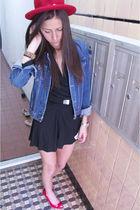 red Miu Miu shoes - black Clu dress - red vintage hat - blue Earl Jeans jacket