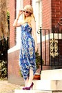Blue-maxi-thrifted-dress-purple-pumps