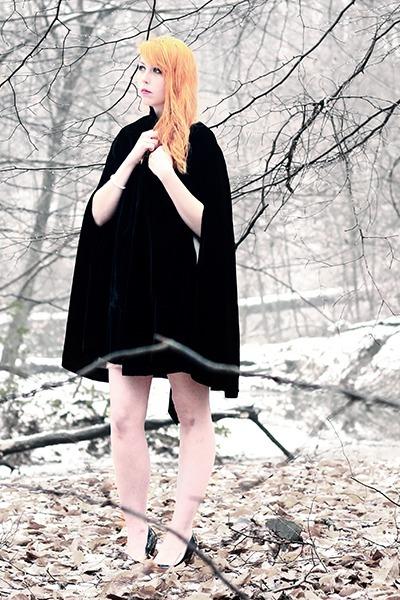 cream chiffon Forever 21 dress - black velvet cape