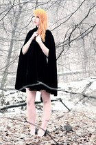 cream chiffon Forever 21 dress - black velvet cape
