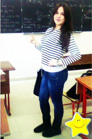 stripes pull&bear blouse - black uggs H&M boots - blue jeans LTB jeans