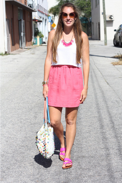hot pink Gap shoes - light blue Anthropology purse - bubble gum Loft skirt