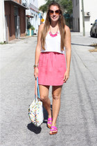 hot pink Gap shoes - light blue Anthropology purse - bubble gum Loft skirt