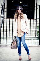 bag - blazer - heels