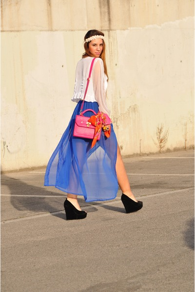 blue Primark skirt - carrot orange H&amp;M scarf - hot pink BLANCO bag