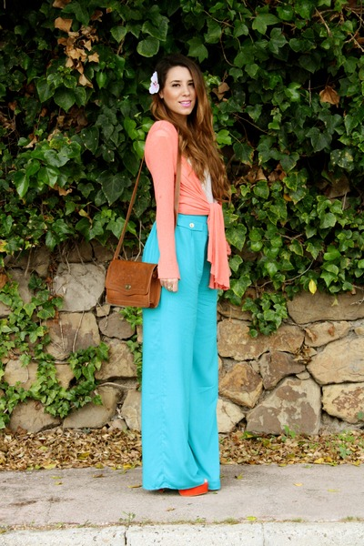 turquoise blue Primark pants - carrot orange Primark heels