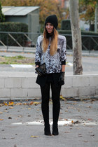 black Zara shirt - black Zara cardigan