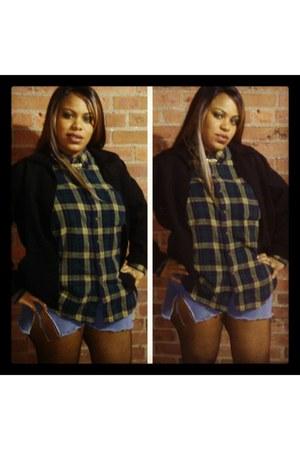 black waist coat thrift jacket - green plaid thrift shirt