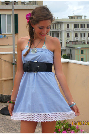 blue My mother accessories - blue self-made dress - black Pimkie belt