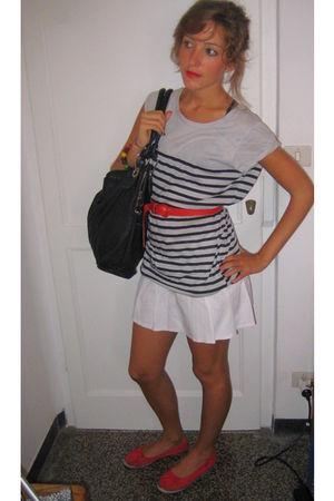 silver Zara t-shirt - white Tally Weijl skirt - black Chinese shop bag - red mum