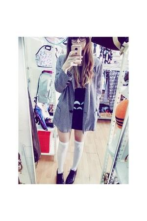 black Bershka shoes - black totoro dress dress - white cardigan