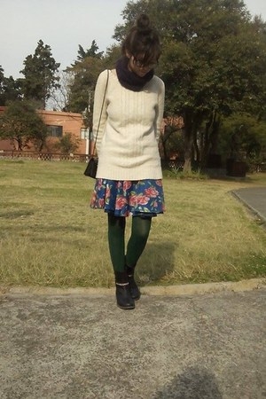 blue handmade skirt - black c&a boots - ivory knitted second hand sweater